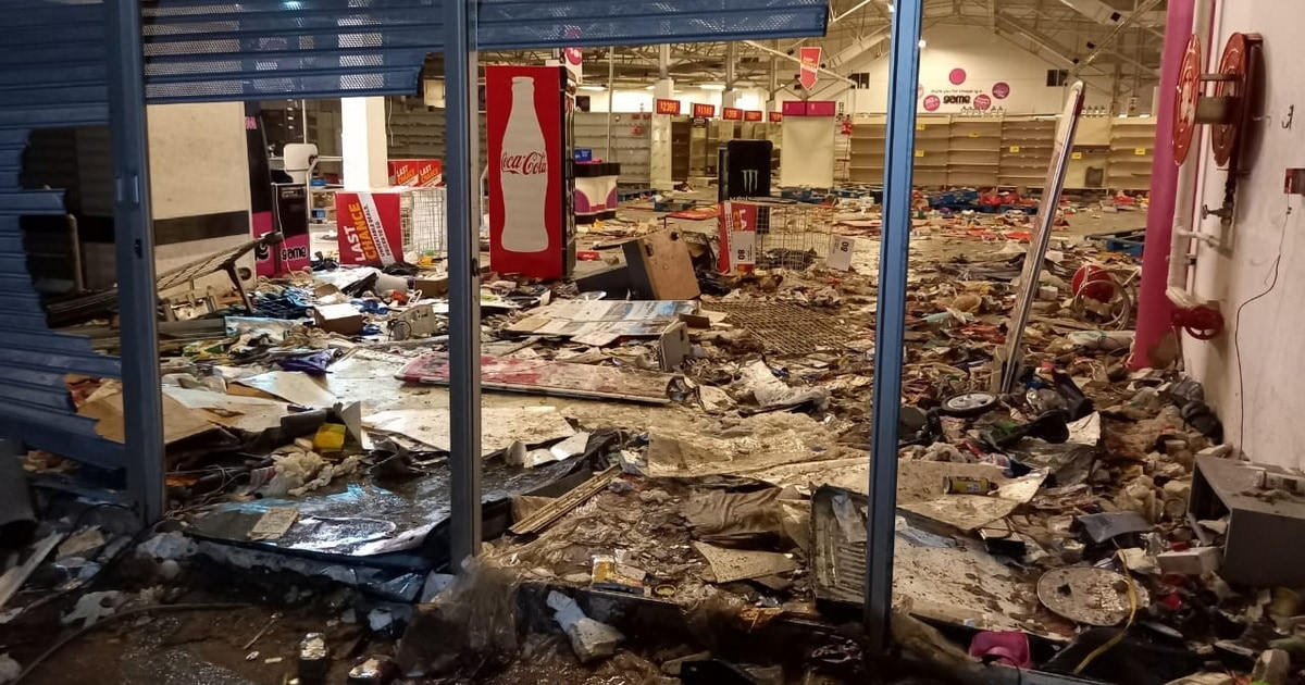 Looted and trashed store.