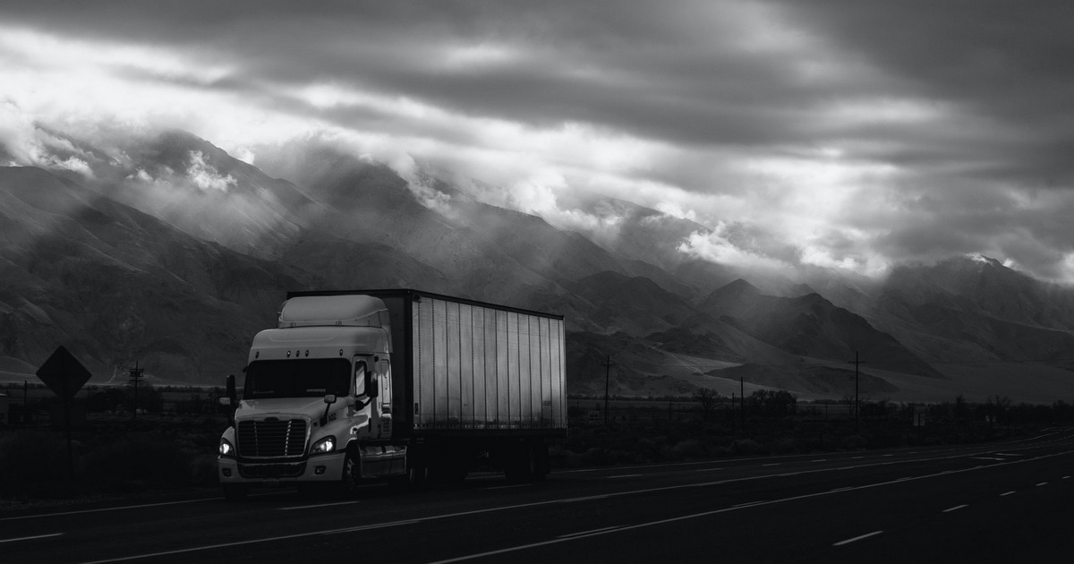 Truck on lonely highway.